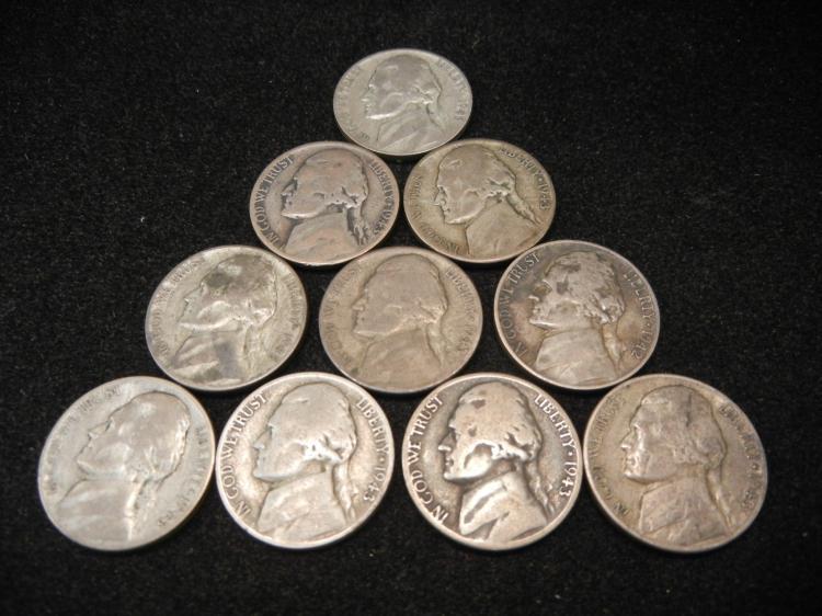 Ten Silver Jefferson Nickels War Time Coins