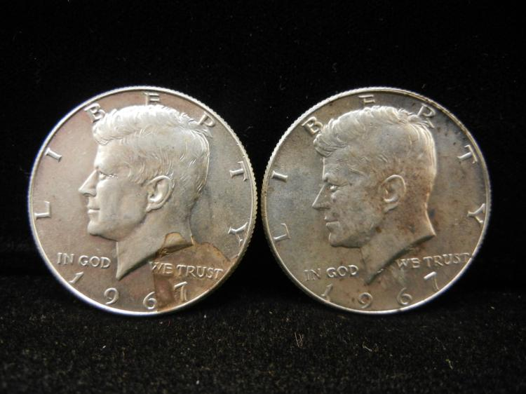 Two 1967 Silver Kennedy Half dollars 40% Silver