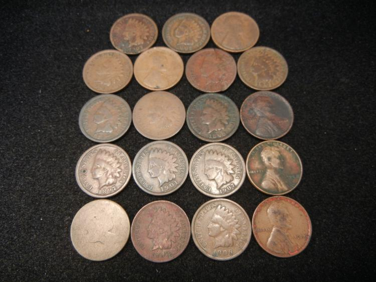 One Flying Eagle Cent, 13 Indian Head Cents & 5 Lincoln cents