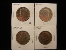 4 Kennedy Half Dollars  1971-P, 1971-D, 1974-D, 1976