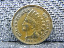 1907 Indian Copper Penny, NICE GRADE, 111 Years Old, Own a Piece of History!