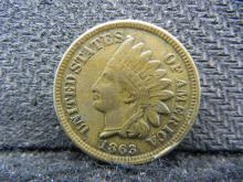 1863 Indian Head cent. Copper Nickel with CUD!. Extremely Fine.