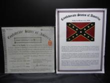 Confederate States of America 50,000 Bond Dated Nov. 16, 1887