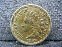 1862 Indian Head cent. Copper nickel. XF detail.