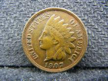 1907 Indian Head cent. All Feathers and Diamonds. Almost Uncirculated.