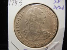 1783 Spanish 8 Reales.  Extremely Fine detail.  Possible seawater salvage.