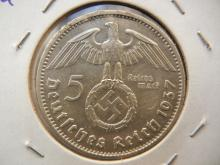 1937A Germany 5 Reichsmark.  Almost Uncirculated.  Berlin Mint.  Silver.