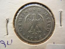 1935 E Germany 50 Pfennig.  Muldenhutten Mint.  Almost Uncirculated.