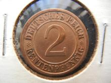 1924 A Germany 2 Pfennig.  Extremely Fine.  Berlin Mint.