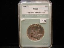 1962 -D Franklin Half Dollar NTC MS65
