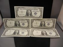 5 1957 Crip Uncir. One Dollar Silver Certificates Consecutive Seral Numbers