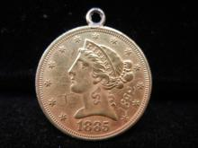 1885 Gold Peace Love Token MH Engraved on the reverse,  1892 is Engraved on the obverse and MH Scratched on obverse