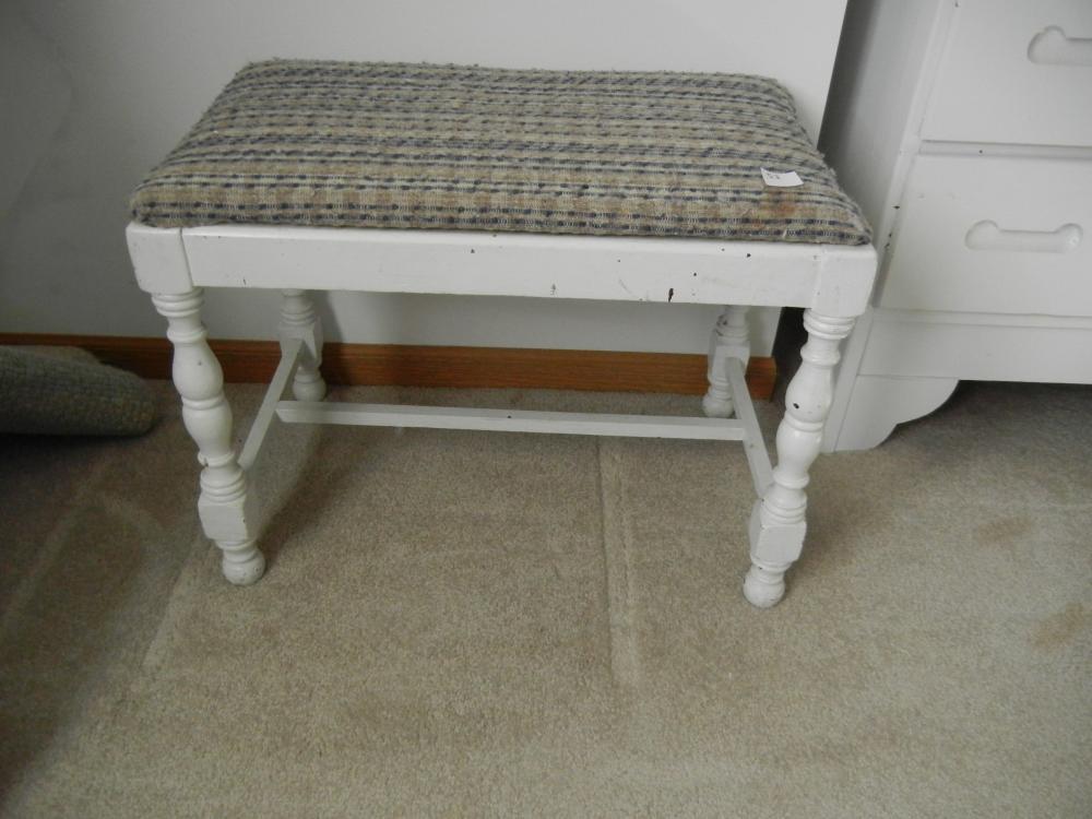 Cool Small White Bench W Fabric Seat Customarchery Wood Chair Design Ideas Customarcherynet