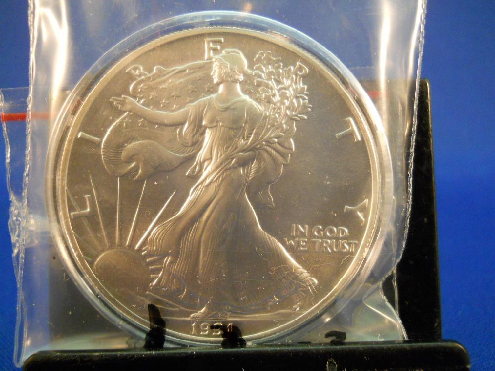 1991 American Eagle Silver Dollar 999 Fine Silver 1 Troy Oz