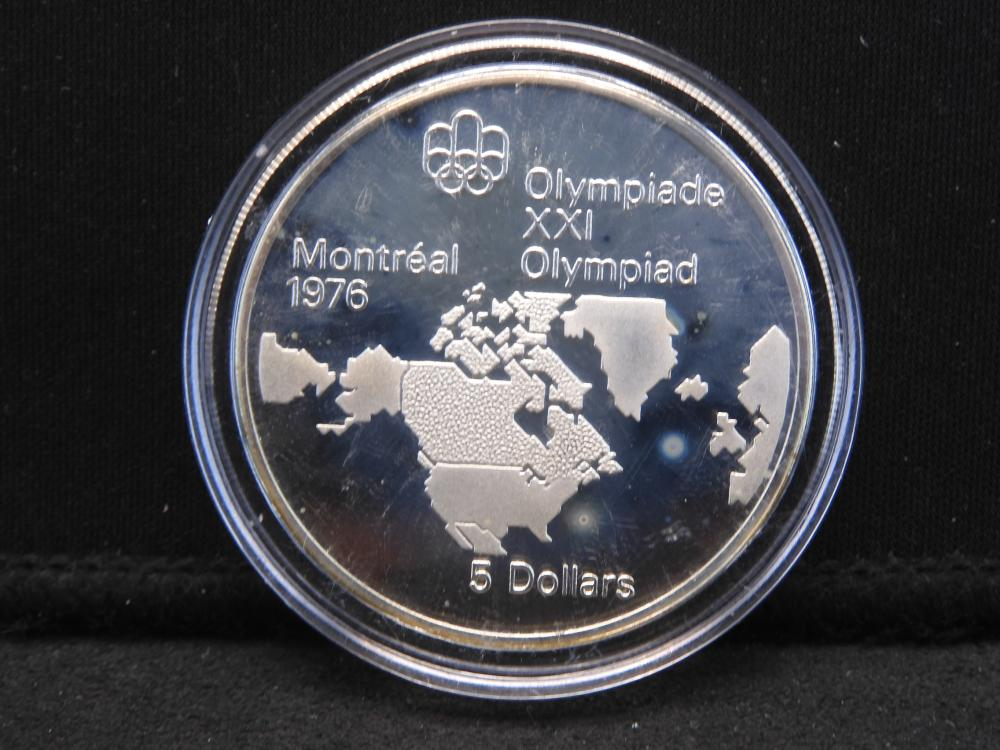 Canada 1973 Olympic XXI $5 (Map of North America) .925 Silver 24.3 grams