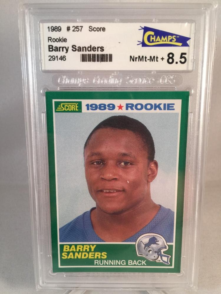 1989 Score Barry Sanders 257 Rookie Card Graded 85