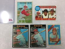 1967, 1969 BL, 1971 Topps & 1972 Kellogs Pete Rose Cards- Varying Conditions