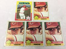 1975 & 1976 Topps Pete Rose Cards - Varying Conditions