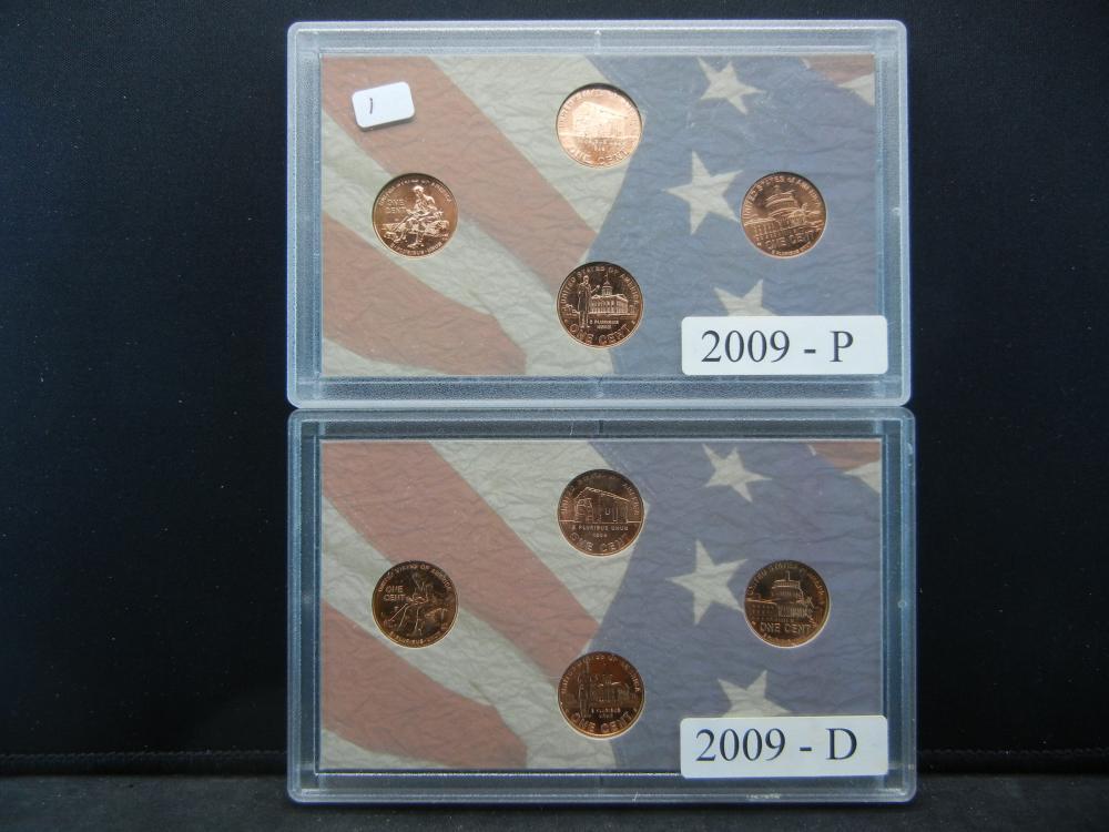 2009 P & D US Mint Sets.  The four Lincoln Varieties.  GEM BU.