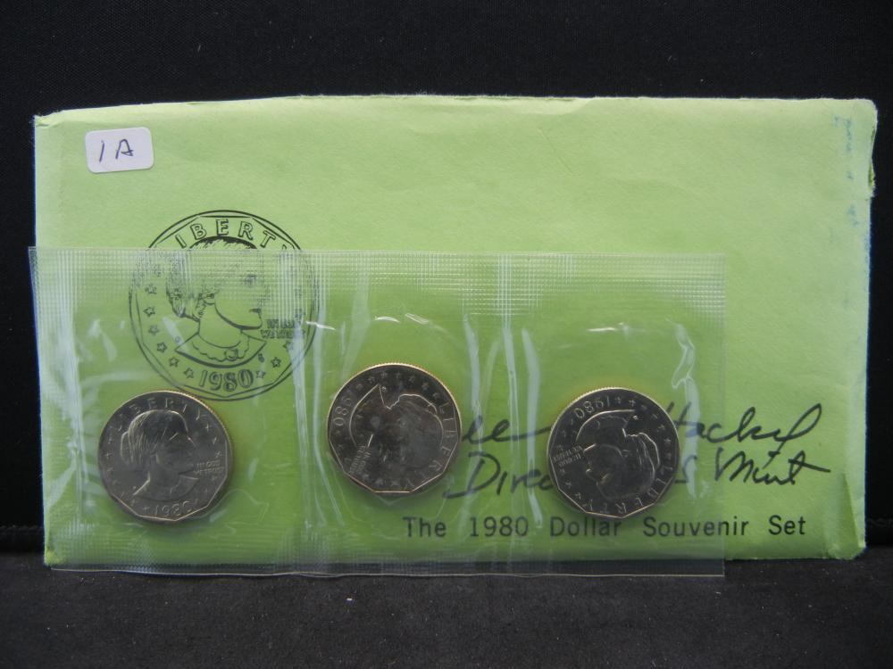 Great Collectible.  1980 Susan B. Anthony souvenir set signed by the then US Mint Director Sheila B. Hackel.