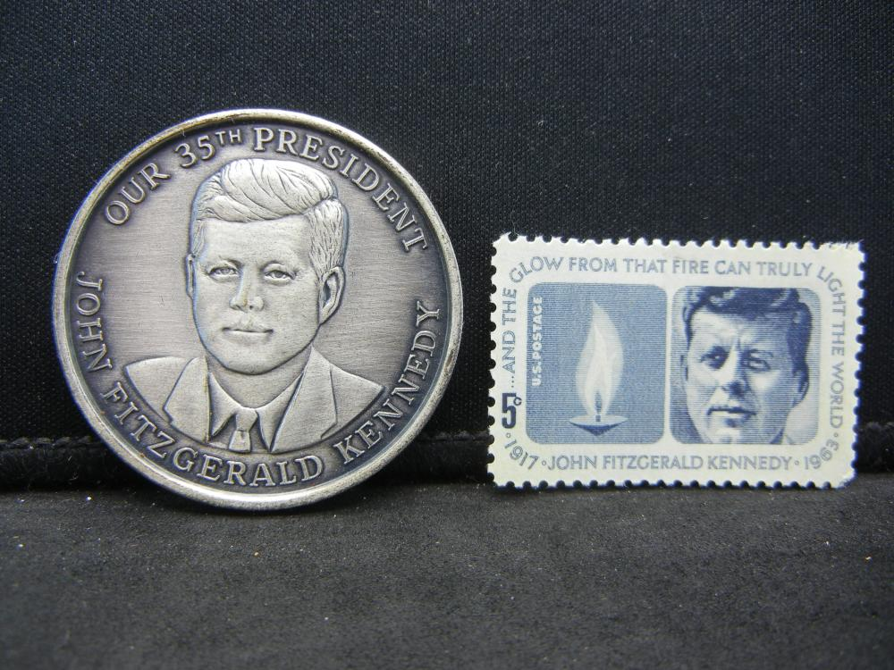 John F. Kennedy Medal and stamp.   Wouldn't do well in today's Democratic Party.