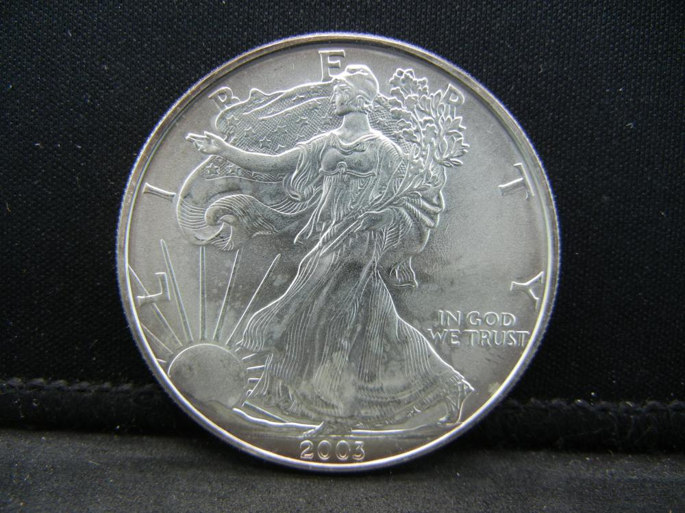 2003 Uncirculated Silver American Eagle Issued by the United States Mint.