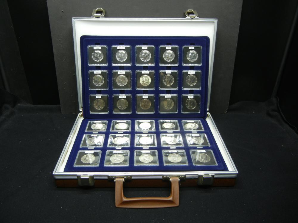 30 Consecutive Kennedy Half Dollars. (1964-1982) All BU. In Lovely leather case