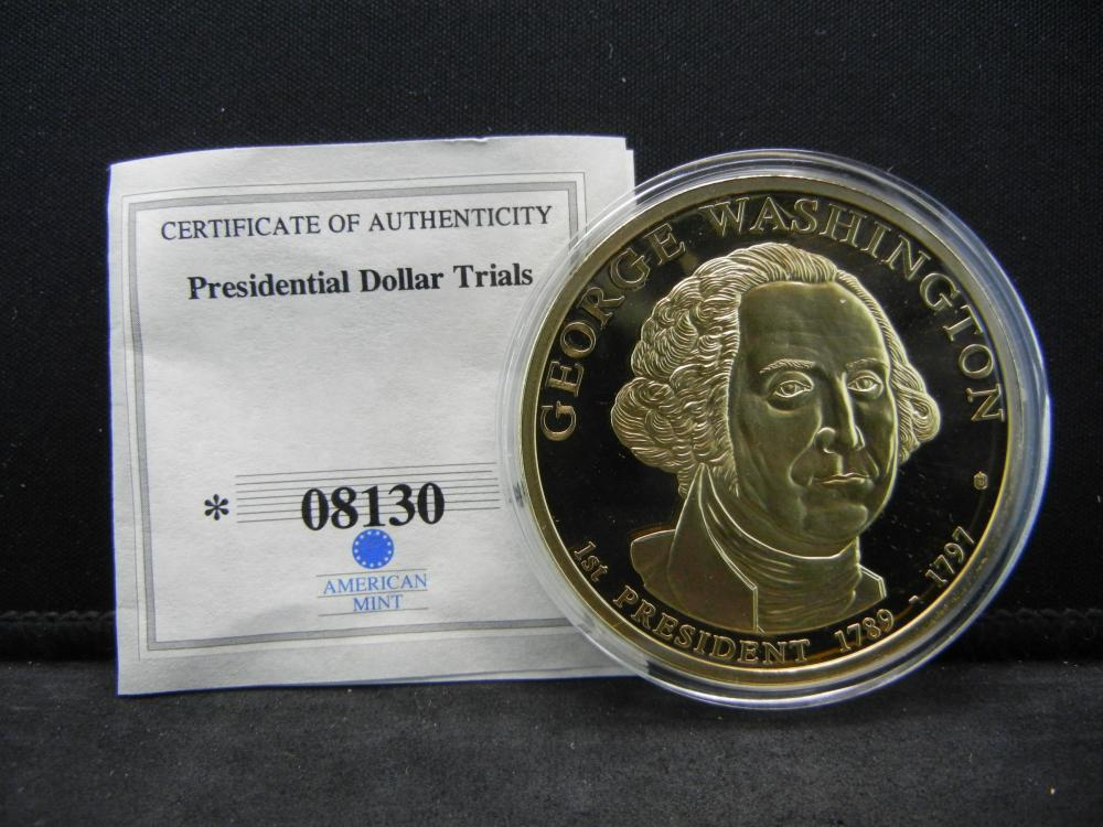 George Washington Presidenial Trial Medal, Statue of Liberty Reverse W/COA.  Issued by American Mint.