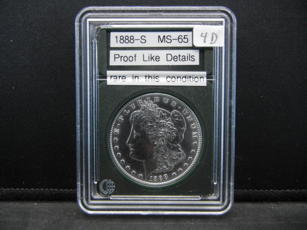 1888-S Morgan Silver Dollar. Proof Like Details. Rare in this condition