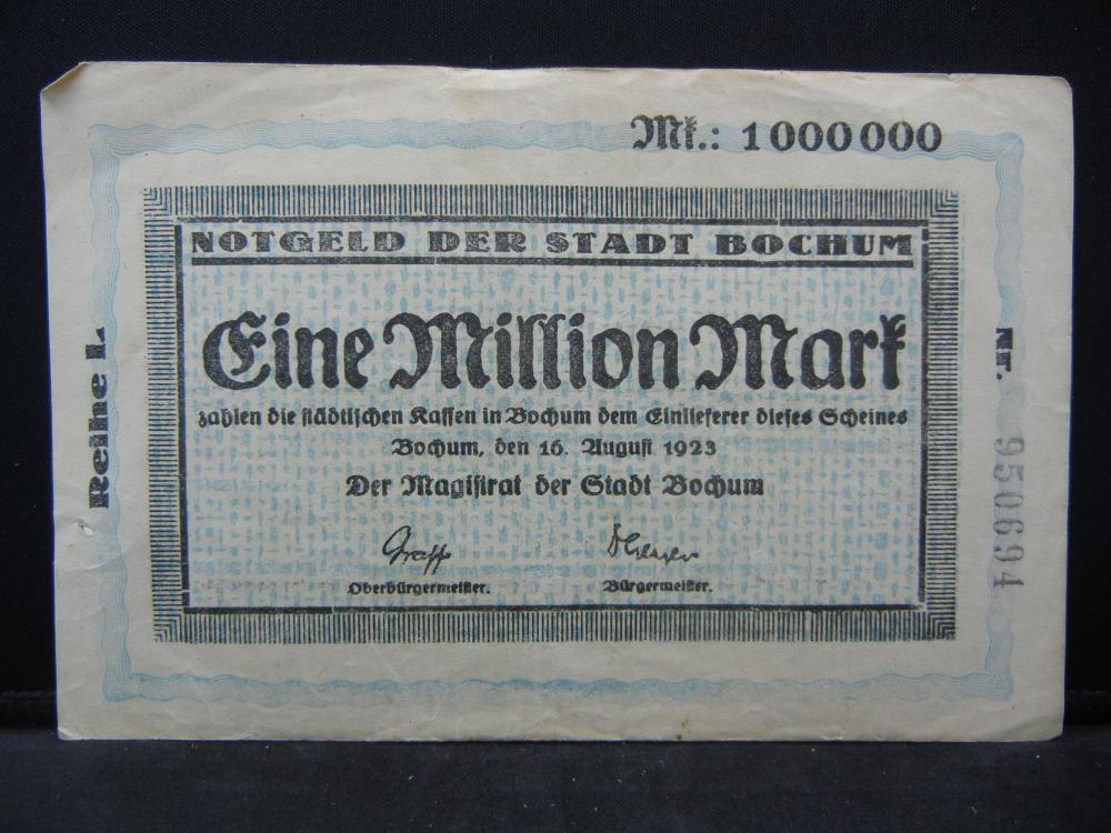 1923 Germany 1 Million Mark, City of Bochum, Serial # 950694