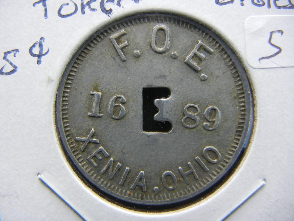 """Extraordinary Xenia Ohio Eagles  """"Good For 5 Cents"""" token.  Xenia - tough token town."""