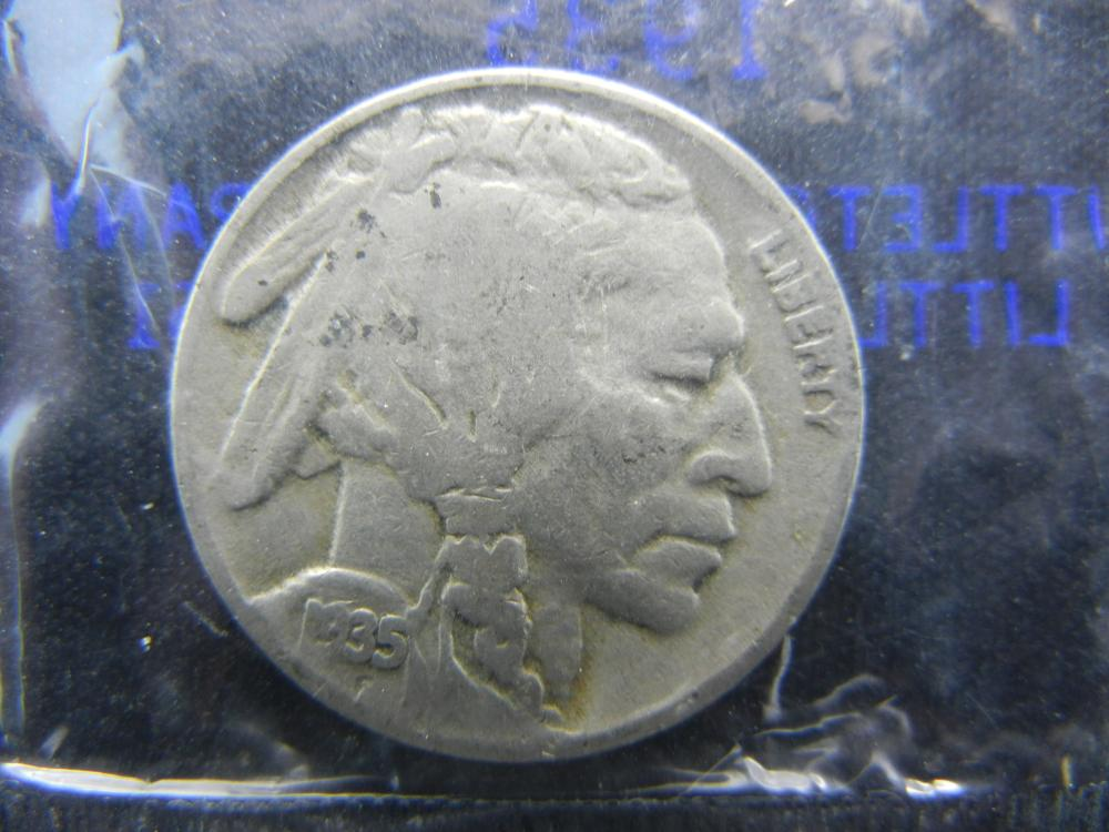 1935 Buffalo Nickel Packaged by Littleton Coin Co. in Cellophane.