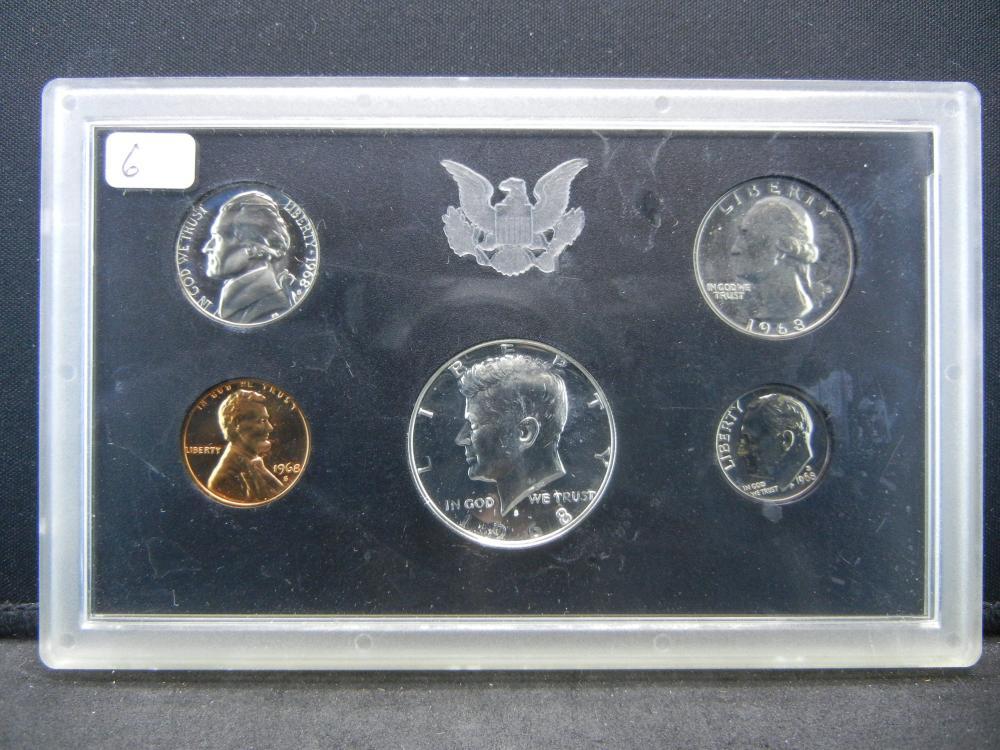 1968-S US Proof Set in US mint plastic sleeve.  Silver Half Dollar.   GEM.