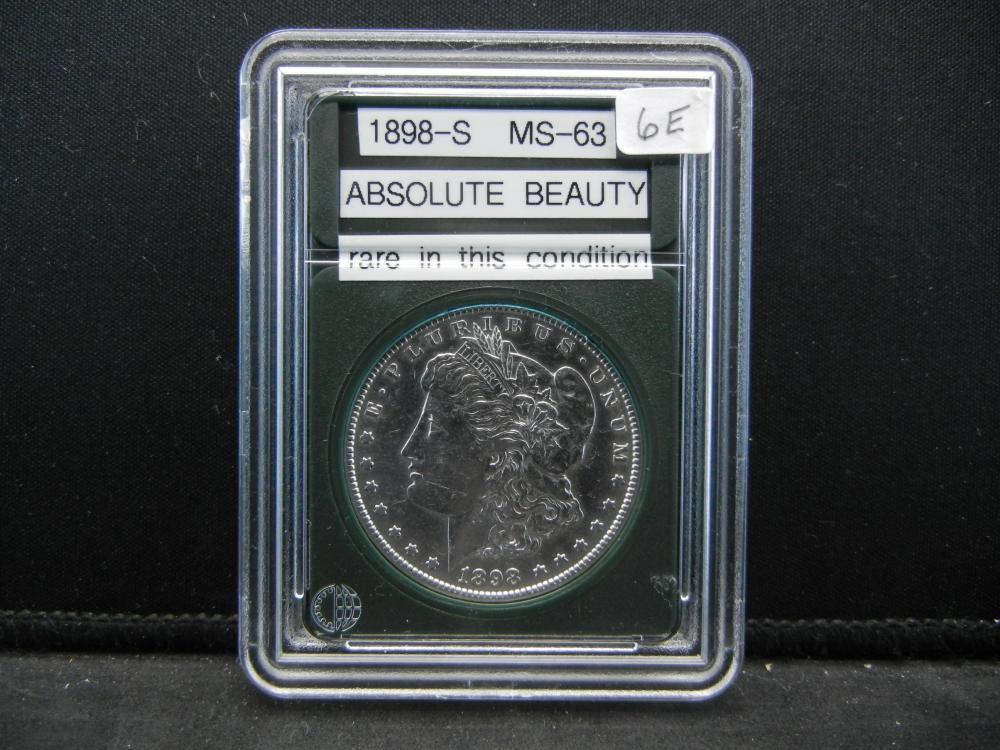 1898-S Morgan Silver Dollar, BU Gem. Rare In this Condition