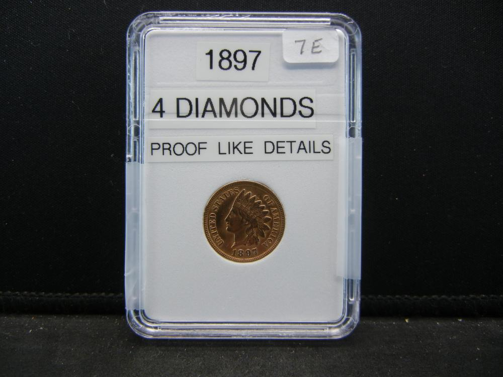 1897 Indian Head Cent. 4 Diamonds, Proof Like Details