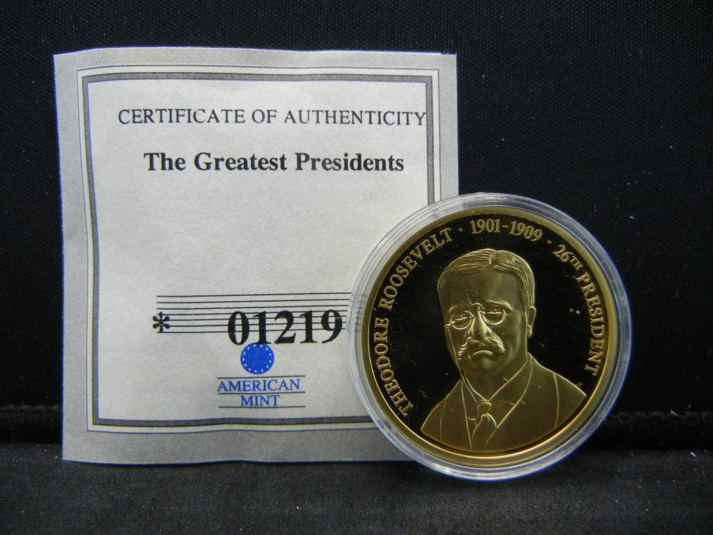 """Theodore Roosevelt """"The Greatest Presidents"""" Commemorative Medal.  Issued by American Mint."""