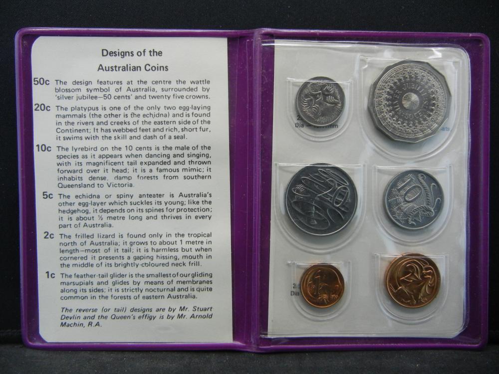 1977 Australia Silver Jubilee Coin Set  in Mint folder.  Six coins Choice BU.