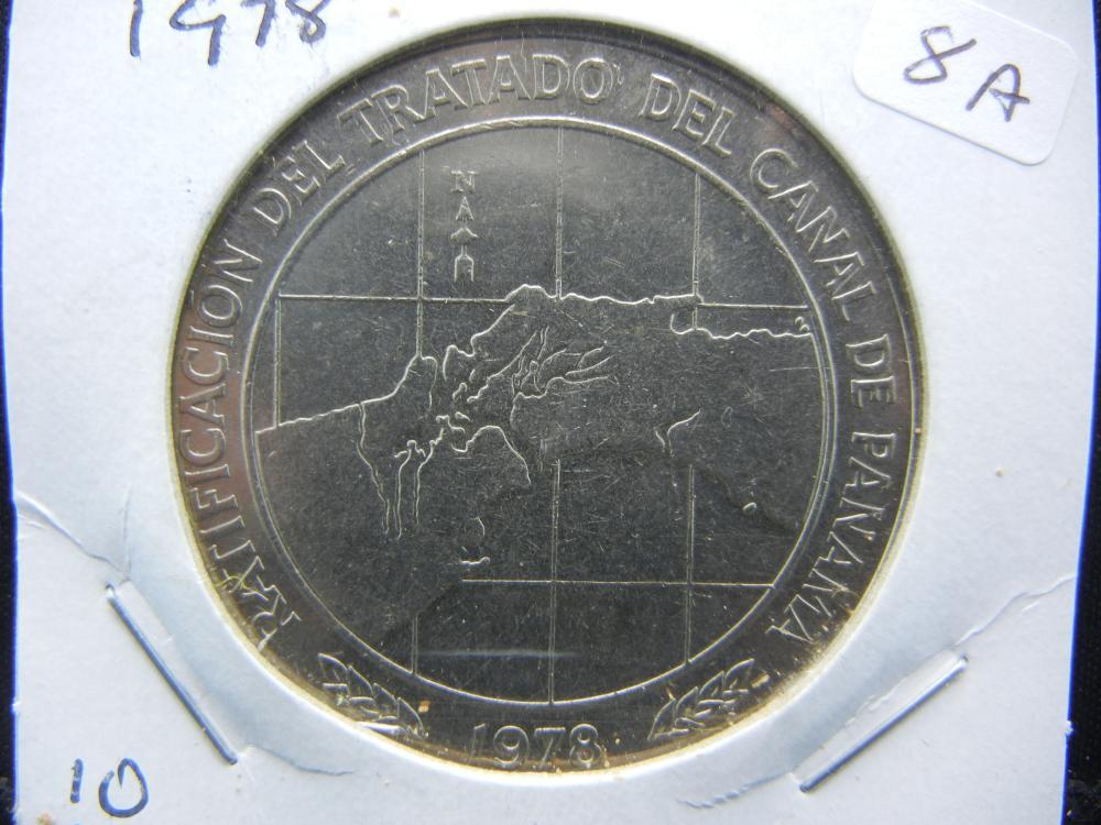 1978 Panama 10 Balboas.   Celebrating Panama Canal.   Almost Uncirculated.  Huge.
