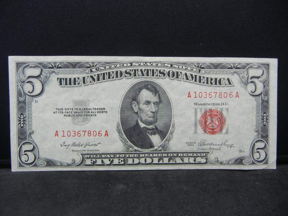 1953 $5 Red Seal United States Note.  Nice Crisp Note.  Serial # A10367806A