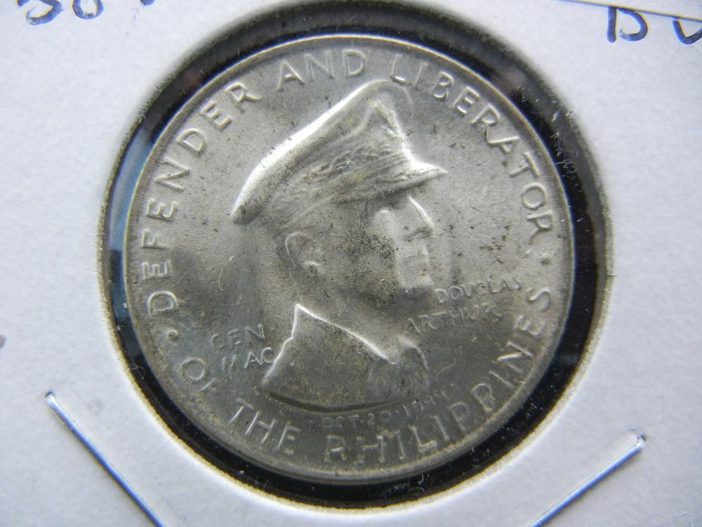 1947-S Philippines 50 Centavo Silver commemorative General Macarthur.  Choice BU.