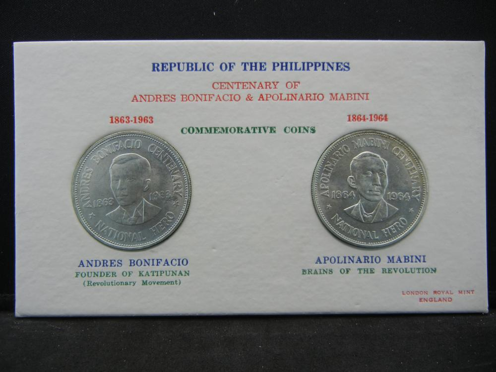 1963 and 1964 Silver Philippines Commemorative Silver Pesos in special mint folder.  Choice BU.