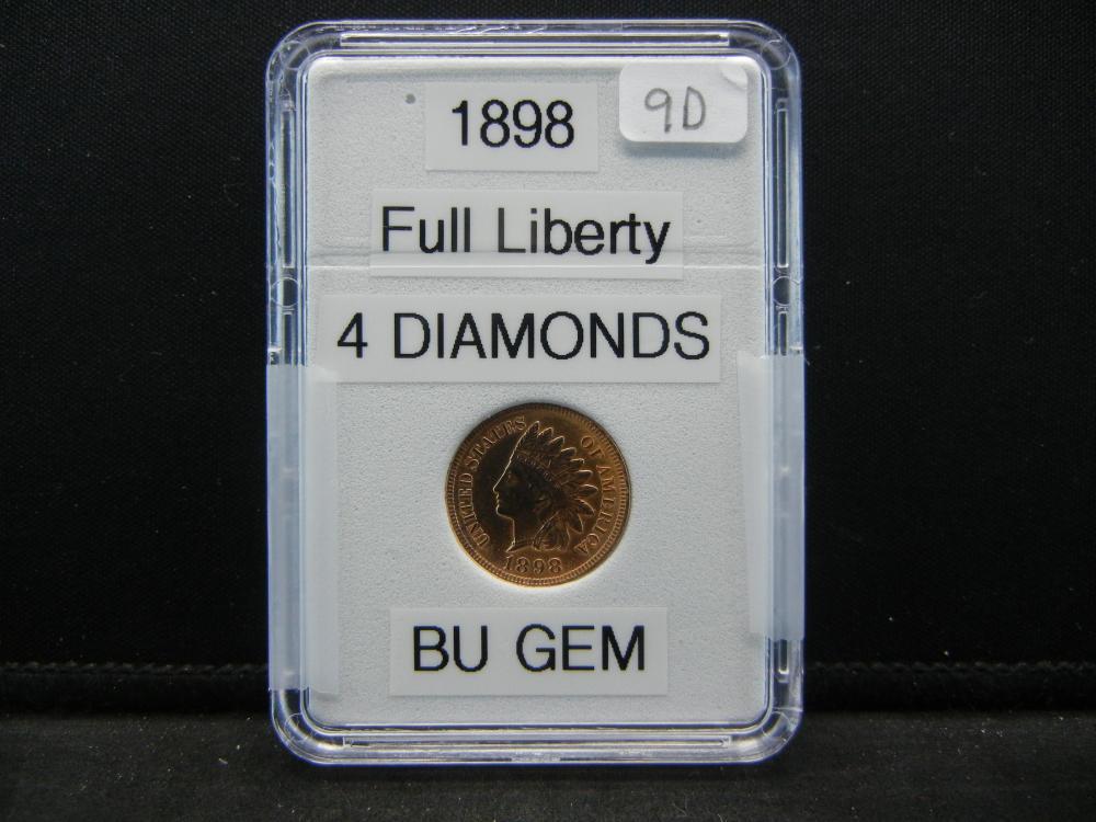 1898 Indian Head Cent. 4 Diamonds. Bu Gem