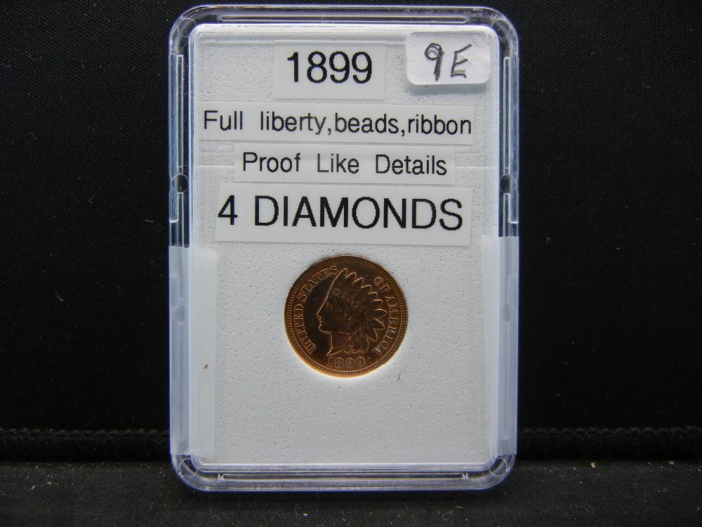 1899 Indian Head Cent. 4 Diamond, Proof Like Details