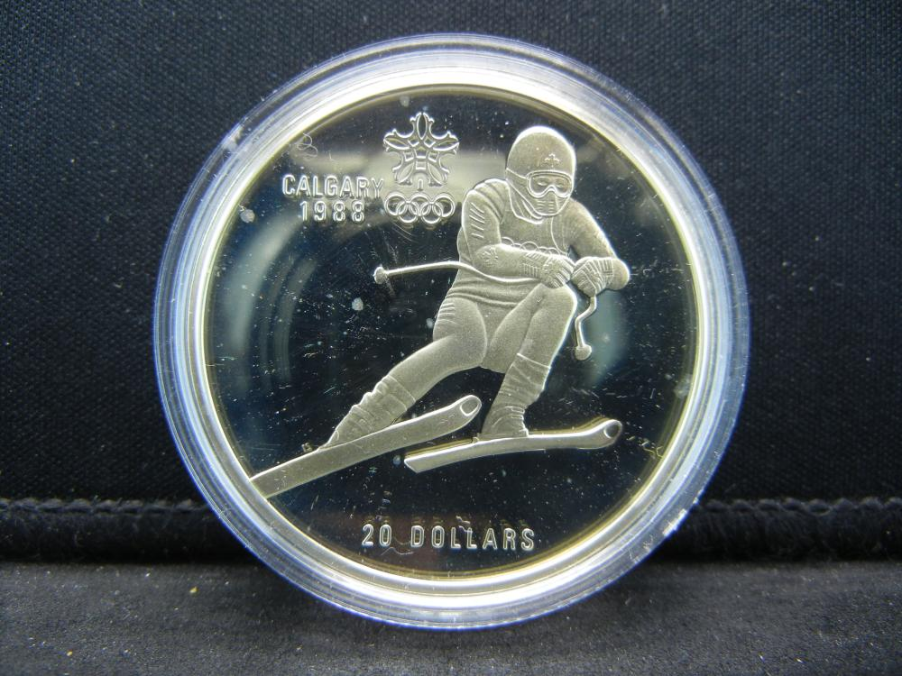 1985 Canada  Calgary Olympics $20 Sterling Silver Skier.   One Troy Ounce.  GEM Proof.