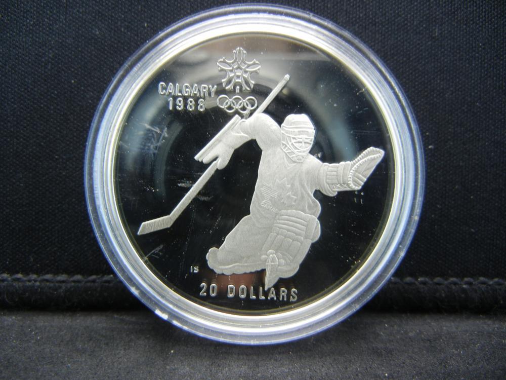 1986 Canada  Calgary Olympics $20 Sterling Silver Hockey.   One Troy Ounce.  GEM Proof.