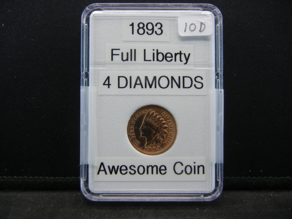 1893 Indian Head Cent. 4 Diamonds. Full Liberty