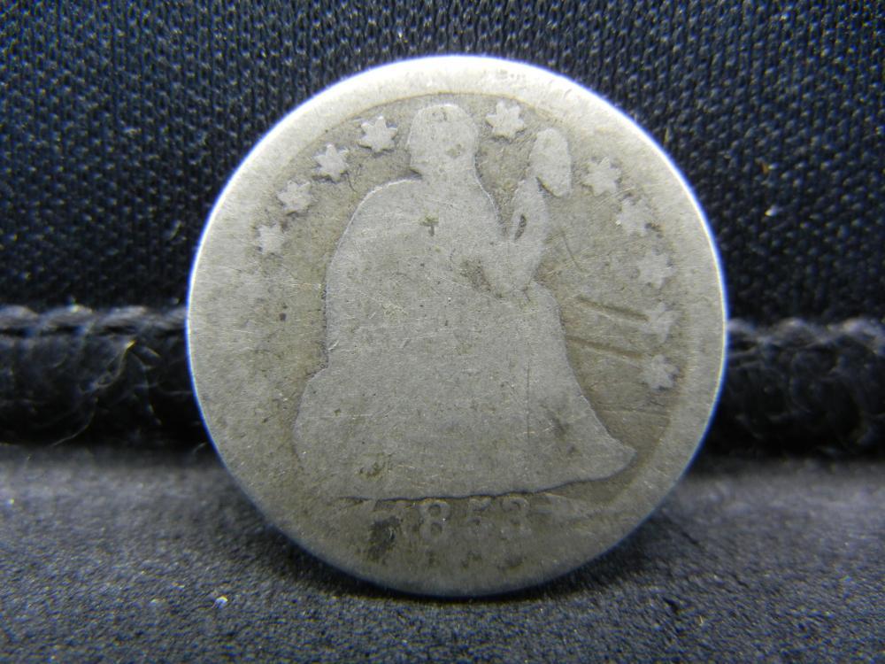 1853 Seated Liberty Dime.