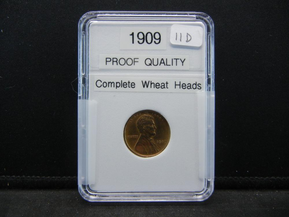 1909 Lincoln Wheat Cent. Proof Quality. Complete Wheat Heads