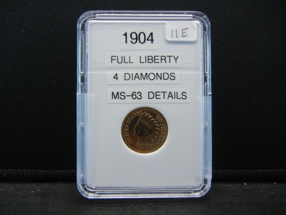 1904 Indian Head Cent. 4 Diamonds, Full Liberty BU Gem
