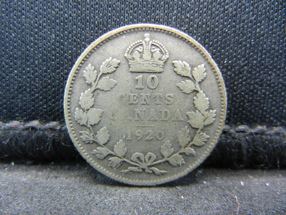 1920 Canada Sterling (92.5%) Silver Ten Cents, Weighs 0.07 Troy Ounce.